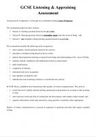 2) GCSE Listening and Appraising Assessment